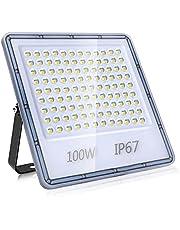 100W LED-Strålkastare, IP67 Otomhus Vattentät Spotlight Säkerhetsbelysning, 10000LM Superljus Ultratunn Arbetsbelysning Vägglampa 6500K kallvitt för Park, Gård, Trädgård, Garage