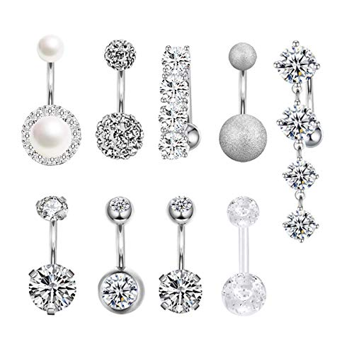 CZCCZC 14G Stainless Steel Belly Button Rings for Women Girls Mixed Navel Rings Body Piercing Jewelry (9pcs(Silver))