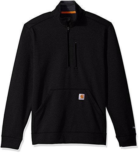 Carhartt Men's Force Extremes Mock-Neck Half-Zip Sweatshirt (Regular and Big & Tall Sizes), Black, Large
