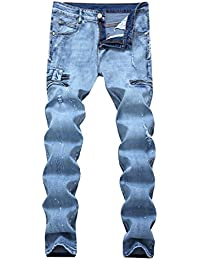 "<span class=""a-offscreen"">[Sponsored]</span>Men's Ripped Slim Straight fit Biker Jeans With Zipper Deco"