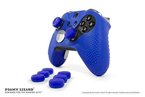 Elite v1 Grip Skin Set for Xbox One Elite v1 (NOT for Series 2) Controller by Foamy Lizard - Sweat Free Silicone Skin w/Raised Anti-Slip Studs + 8 QSX-Elite Thumb Grips (Skin + QSX-E Grips, Green)