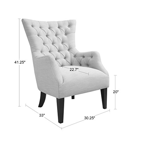 Madison Park MP100-0150 Lilith Wing Chair, See Below, Grey