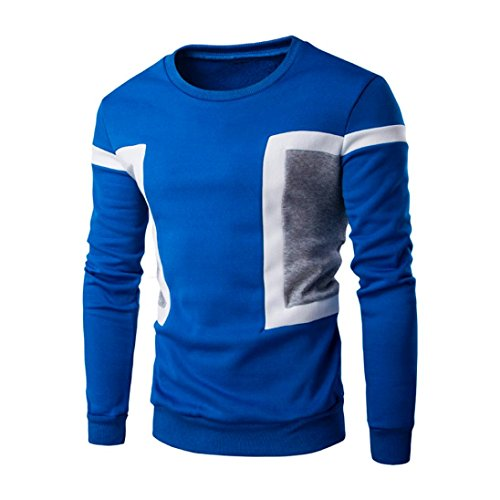 Sweatshirt Tops,BeautyVan New Fashion Men's Long Sleeve Patchwork Hoodie Sweatshirt Jacket (L, Blue)