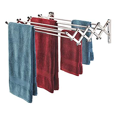 """Smartsome Fold Away Clothes Rack: Stainless Steel Wall Mounted Laundry Drying Rack - 8 Rods, 22 Feet Capacity- Easy to Install Space Saver Design - 60 lb Capacity- Indoor and Outdoor Use - EXPANDABLE WALL MOUNTED ACCORDION RACK: Our durable, compact pull-out design is quick & easy to install and helps you save space, reduce energy use, and maintain a neat and functional home environment. Use this expandable dry rack in your laundry room, bathroom, or pool area for an incredibly convenient laundry hanging system! TONS OF HANGING SPACE: This collapsible clothes dryer rack offers you 22 linear feet of hanging space for drying towels, sweaters, wet jeans, delicate garments and more! Rods can be used with most cloth clips for added convenience. Dimensions: 34"""" X 24"""" X 8.5"""" fully extended, 34"""" x 5"""" x 24"""" closed HEADACHE-FREE INSTALLATION: Why mess with other poorly designed wall mount drying racks that take hours to install? This towel rack features a one-of-a-kind teardrop mounting style that's quicker and easier to set up. Once mounted, the dry rack can be dismounted and replaced tools-free. Easy-to-follow instructions included. - laundry-room, entryway-laundry-room, drying-racks - 41iwS7GFwRL. SS400  -"""