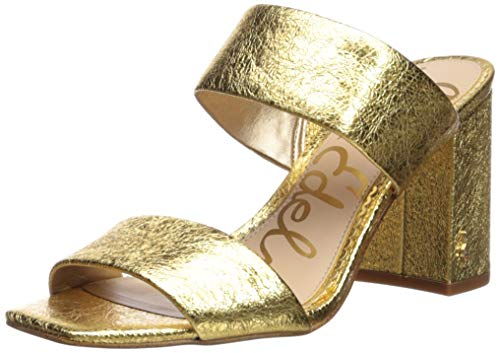 Sam Edelman Women's Delaney Heeled Sandal, Bright Gold Metallic Leather, 6.5 M US ()