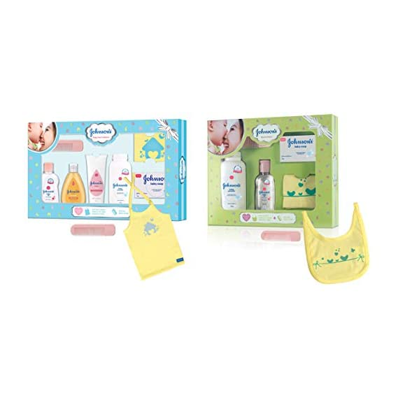 Johnson'S Baby Care Collection Baby Gift Set with Organic Cotton Baby T-Shirt (7 Pieces)&Baby Care Collection with