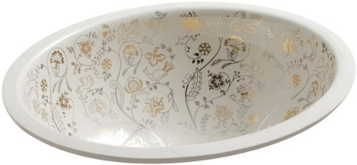 (KOHLER K-14218-T9-47 Mille Fleurs Design on Caxton Under-Mount Bathroom Sink, Almond)