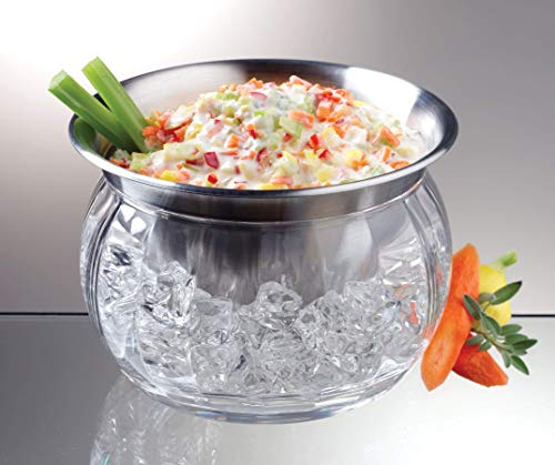 Stainless Steel Dip Chiller Bowl with Acrylic Ice Bowl with Acrylic Ice Base - Cold Food Buffet Server ()