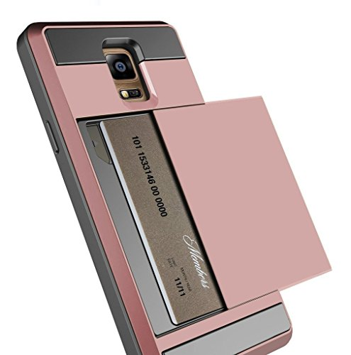 Note 3 Case, Anuck Protective Shell Galaxy Note 3 Wallet Case Card Pocket Shockproof Dual Layer Hybrid Rubber Bumper Case Cover with Card Slot Holder for Samsung Galaxy Note 3 - Rose Gold
