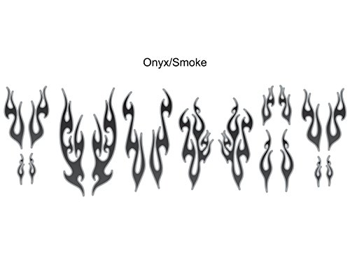 (No. 18 - Onyx with Smoke Pinstripe -18pc - Tribal Flame decals for Motorcycle tank, fenders, helmet)