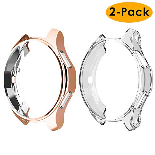 EZCO Compatible Samsung Galaxy Watch 42mm Case (2-Pack), Soft TPU Plated Case Protector Bumper Shell Compatible Samsung Galaxy Smart Watch (Pack Color Compatible Multi)