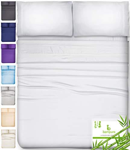 Bamboo Sheets King Size Sheets - 100% Organic Bamboo King Sheets Cooling Sheets King Deep Pocket King Bed Sheets King Size Sheet Set King Size Bed Sheets Extra Deep Pocket King Sheets White King Sheet