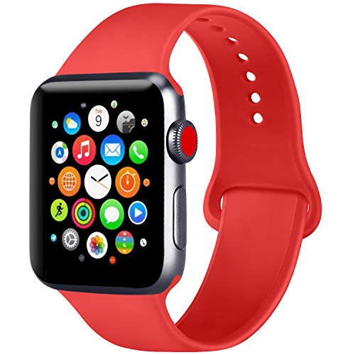 ATUP Compatible with for Apple Watch Replacement Band 38mm 40mm 42mm 44mm Women Men, Soft Silicone Band Compatible with for iWatch Series 4, 3, 2, 1 (Orange Red, 42mm/44mm-M/L)