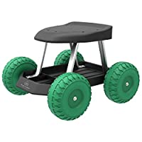 Pure Garden 82-VY021 Garden Cart Rolling Scooter with Seat and Tool Tray for We, 17.5×19, Green/Black