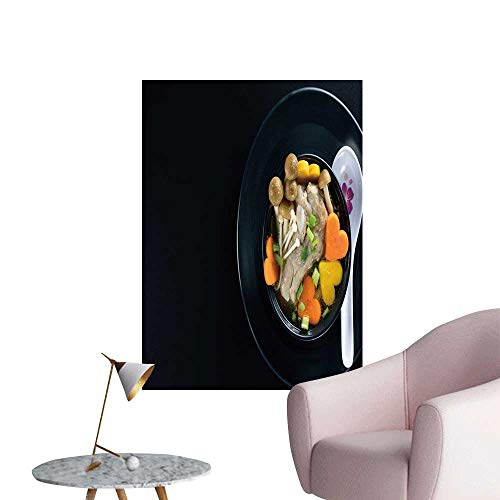 SeptSonne Wall Stickers for Living Room Pork Rib Soup Vegetable Bowl on Black plaate Vinyl Wall Stickers Print,28