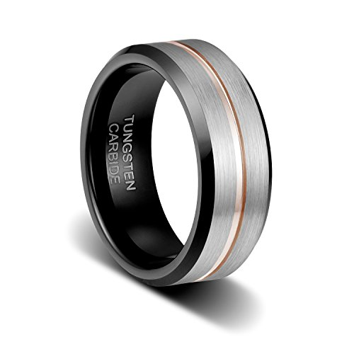 8 Mm Line Finish - TUSEN JEWELRY 8mm Brushed Finish Surface the Thin Rose Gold Plated Line in Groove Step Edge Tungsten Ring Size:10.5