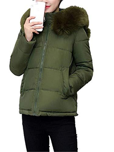 con Outdoor Casual Cappuccio Lunga Piumini Invernali Zip Armgr Manica Vintage Moda in Cappotto Donna Trapuntato Elegante Caldo Corto Piumino Cappotti Sottile Pelliccia UT7WIFxg