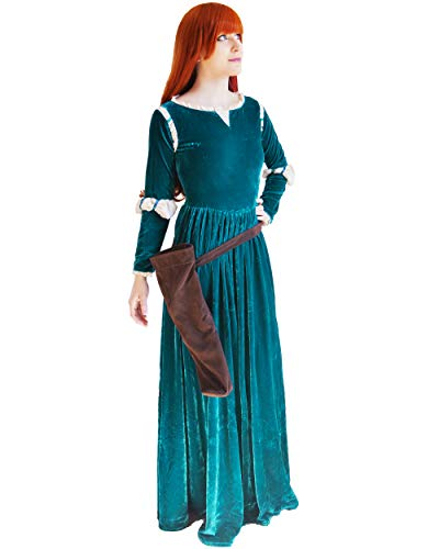 DAZCOS US Size Adult Princess Gown Green Cosplay Dress and Quiver (Women Medium) -