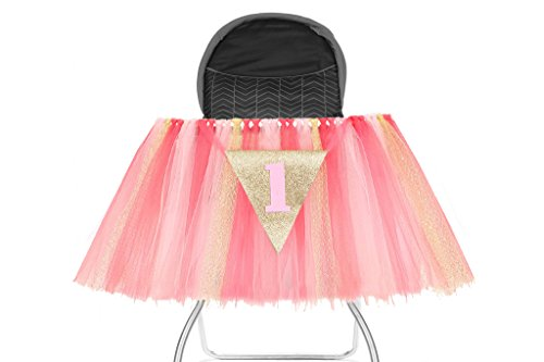 Posh Peanut 1st Birthday Tutu Skirt for High Chair Party Decorations for Your Special Day (Pink/Gold)