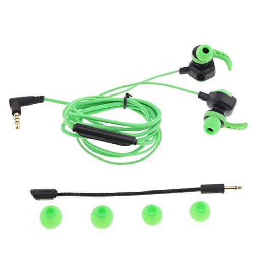 ゲーム専用 イヤホン マイク付き チャットイヤフォン PUBGモバイル PS4 Xbox 任天堂スイッチ用 人間工学 - 緑