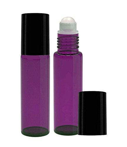 Perfume Studio Purple Glass Roll Ons, 2 Piece Set with Black Cap .33oz (PLASTIC BALL, PURPLE) -