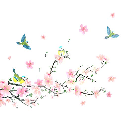 VORCOOL Wall Sticker Cartoon Peach Blossom Announcement Wall Decal Bedroom Picture Sticker Creative Home Decor