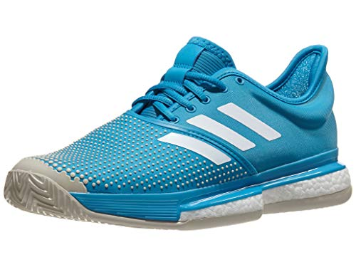 adidas Men's SoleCourt Boost Clay Shock Cyan/Footwear White/Raw White 11.5 D US
