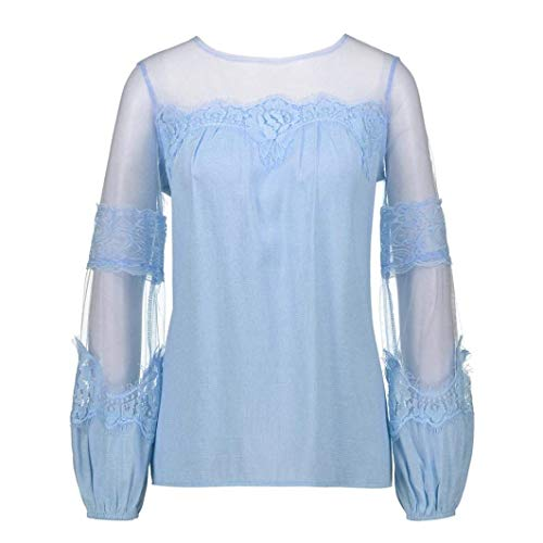 Printemps Fashion Splicing Tops Blau Maille Baggy Femme Col Chemisiers Long Automne Loisir Elgante Haut Costume Rond Shirts Perspective Chic Manches fwq55xtARg