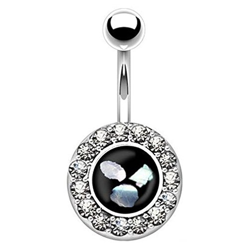 Round Crystal Paved Synthetic Mother of Pearl Inlaid Center Navel Ring (Sold Individually) (Pearl Button Center)