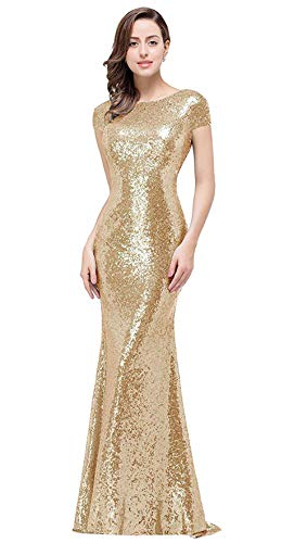 (MisShow Women Long Light Gold Bridesmaid Dress Sparkly Sequins Prom Evening Gowns)