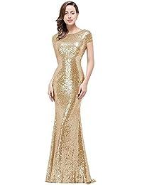 3e37401e70 Women Sequins Prom Bridesmaid Dress Glitter Rose Gold Long Evening Gowns  Formal