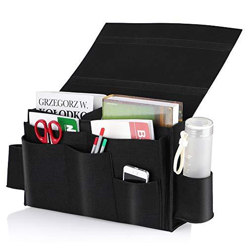 Exblue Bedside Storage Organizer Caddy Bed Pocket Hanging Storage Bedroom,Dorm Room,Bed Rails,Bunk Beds,Headboards-Black
