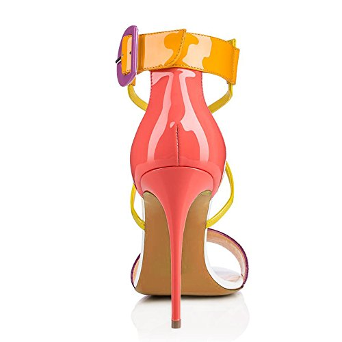 Color amp; Dress 45 Shoes Summer Party Sandals PU Color Cross A Heel Size Shiny Stiletto for Women's Platform Evening Toe Candy Strap Pointed HBZWZn