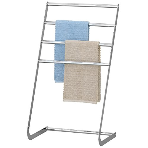 MyGift 4 Tier Freestanding Chrome-Plated Towel Rack, Laundry Hang and Dry Stand