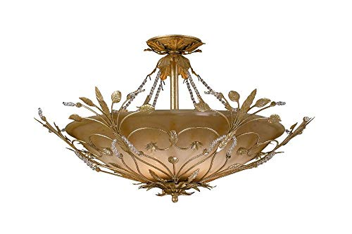 Crystorama 4707-GL Leaf, Flower, Fruit Six Light Ceiling Mounts from Paris Flea Market collection in Gold, Champ, Gld Leaffinish,