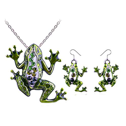 - Joji Boutique Green Bejeweled and Enameled Frog Pendant Necklace and Drop Earring Set