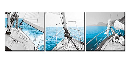 Canvas Print Wall Art Painting For Home Decor Sailboat On Gocek Marina Beach In Aegean Coast Of Turkey Sailing On A Calm Blue Sea Motorboat With Mountains In Background 3 Pieces Panel Paintings Modern Giclee Stretched And Framed Artwork The Picture For Living Room Decoration Seascape Pictures Photo Prints On Canvas