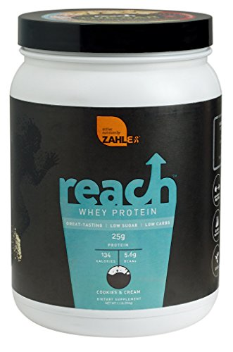 Zahlers Reach, Whey Protein Shake powder, advanced formula for Lean muscle Build, Naturally Sweetened and Flavored, Certified Kosher,Great Tasting Cookies and Cream Flavor, 1.1 Pound