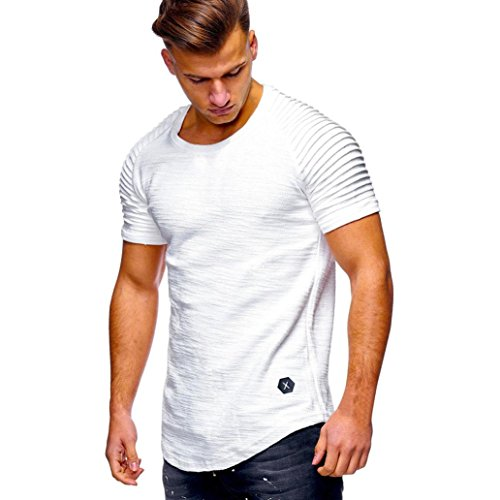 Misaky 2018 Summer Fashion Men Slim Fit V Neck Short Sleeve Cotton Shirts Casual Tops M-3XL (M, White) Georgia Striped Hoody