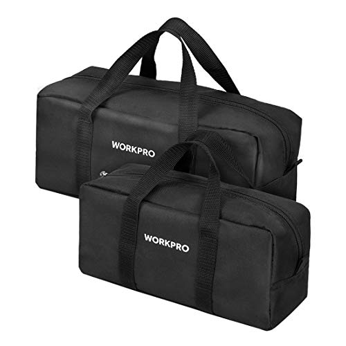 WORKPRO Tool Bag Combo Kit - Includes 1 Medium & 1 Small Toolbag - Organizer Tote Bags for Plumbing, Gardening, Electrician, HVAC & More