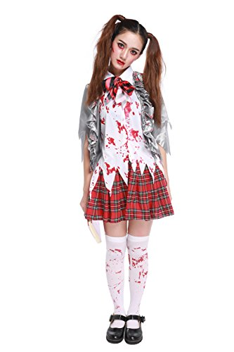 Dead School Girl Costume (Women's Horror Zombie Schoolgirl Costume Blooded Student Uniform Halloween Outfit (X-Large))