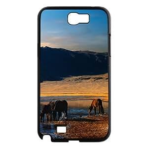Samsung Galaxy Note 2 Case Wild Horses 2, Vety, [Black]
