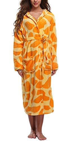 WitBuy Women's Soft Fleece Long Robe Warm Hooded Plush Bathrobe Animal Loungewear Giraffe M/L