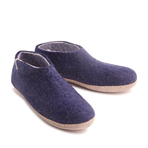 Egos House Slippers: 100% Natural Sheep Wool Handmade Slippers| Warm, Ultra Comfortable & Moisture-Wicking| Deluxe Shoe Classic Slippers With Anti-Skid Leather Sole| Bedroom Slippers For Men, Women - Design Shops Copenhagen