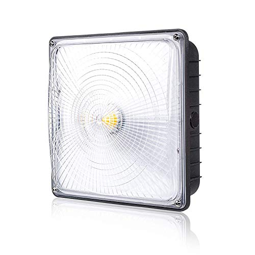 Parmida LED Canopy Light, 45W, 0-10V Dimmable, 5200lm, 110-277VAC, IP65 Waterproof, DLC-Qualified & ETL-Listed, 5000K (Day Light), 9.6 x 9.6, Gas Station, Street, Area & Outdoor Lighting, Bronze