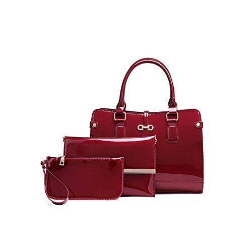 violet pour femmes main pcs bandoulière à sac Bag cuir élégant main noir sac PU en de les à bleu travail sac de YAN et Lady's rouge Rouge Rouge Color ensemble corps 3 sac à élégant Bffw8