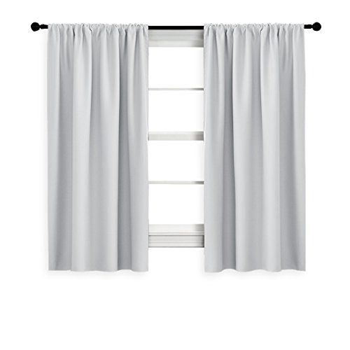NICETOWN Greyish White Window Curtain Panels - Thermal Insulated Rod Pocket Room Darkening Curtain Sets for Bedroom (Platinum - Greyish White,2 Panels,42 by 45) -