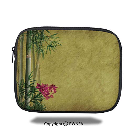 Tablet Bag,Wild Orchides with Bamboo Leaves on Old Antique Paper Floral Asian Style Art,10.8