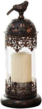 QIQIDEDIAN キャンドルホルダー装飾飾りロマンチックなキャンドルライトディナーの小道具レトロホームガラス錬鉄 (Color : Black, Size : Large)