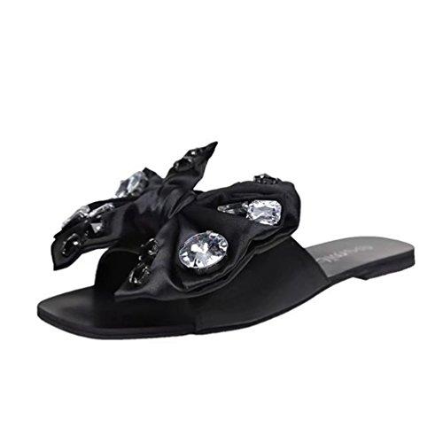 Rhinestone Estivales Flats Chaussures Noir Sur Air Bowknot Paresseux En Les Ouvert De Mode Sandales Toe Plein Jrenok Slides Slip Femmes HITcZzIv